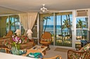 Living room with beach & ocean view
